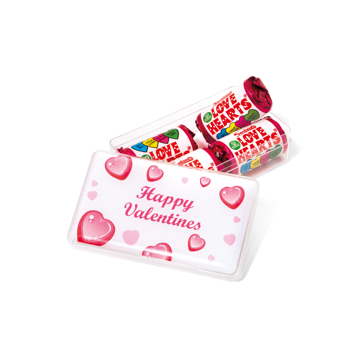 Love Heart sweets in a pot with branded lid