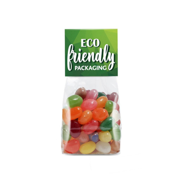 Biodegradable bag filled with jelly bean factory sweets branded with eco friendly logo