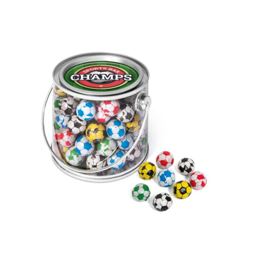 medium bucket filled with chocolate footballs and branded with a label to the lid