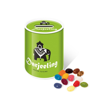 Branded money box tin filled with jelly beans and printed with business logo