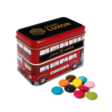 London Bus Tin with Branded lid filled with sweets