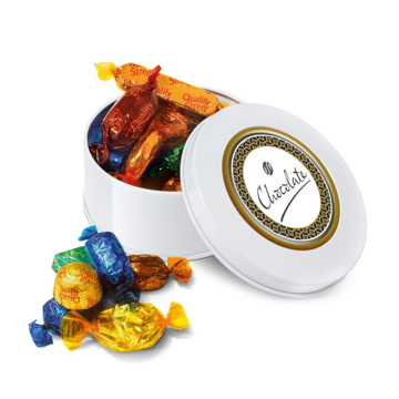 Overflowing small white quality street selection tin