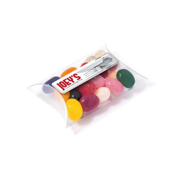small transparent pouch of jelly beans with branding to the lid.