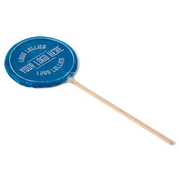 Blue lollipop with a template branded logo to the front