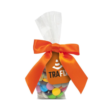 Chocolate beanies in a clear bag tied with ribbon and branded tag