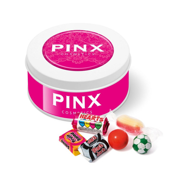 tin of sweets, next to a variety of retro sweets
