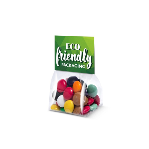 coloured chocolate beans in clear bag with eco friendly packaging
