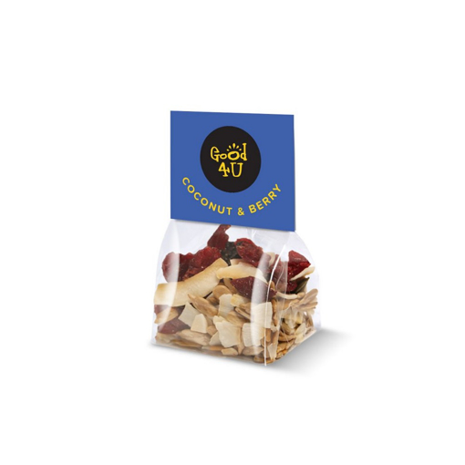 Snack bag with branded label