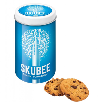 A printed tin filled with Maryland cookies