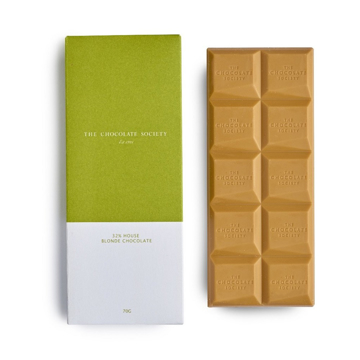 Luxury caramelised white chocolate bar in branded packet