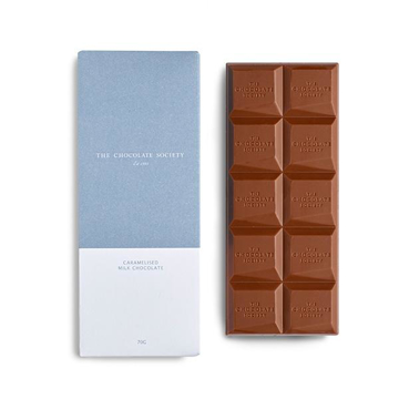 Branded luxury caramelised milk chocolate bar in printed corporate packaging