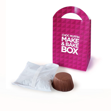 A muffin mix kit with pink branded packaging