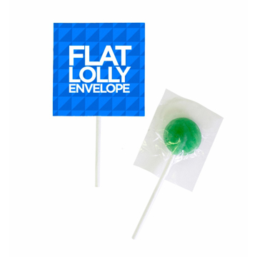 A lollipop on a stick with branded sleeve.