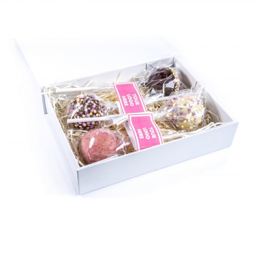 A gift box with 4 cake pops
