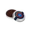 tin of dark chocolate caviar beads