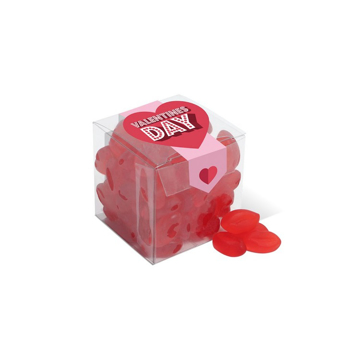 A clear cube of lip shaped sweets with valentines day branding