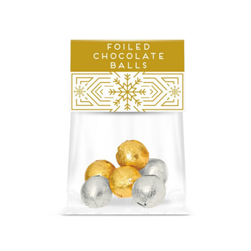 a clear bag of gold and silver foiled chocolate ball, with festive branding.