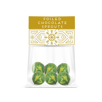 a clear bag of chocolate balls decorated like brussel sprouts