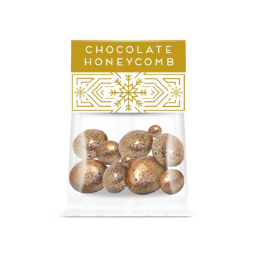 clear bag of promotional chocolate with festive branding