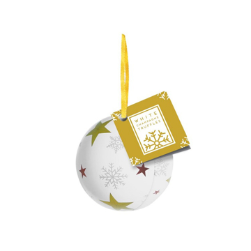 white promotional bauble