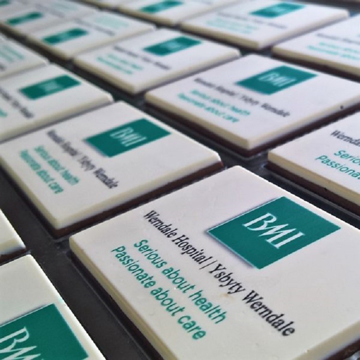 Chocolate printed with company details