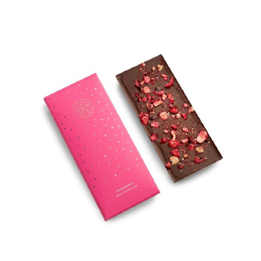 dark chocolate with dried cranberries