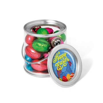 Foiled chocolate eggs in mini bucket branded with a personalised sticker.