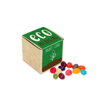 a small card cube with eco branding and spilled jelly beans