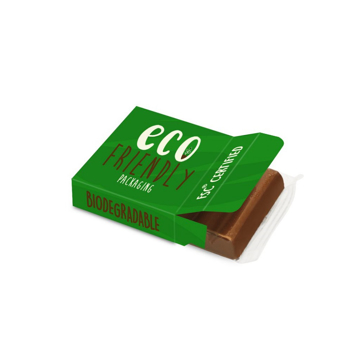 Small chocolate bar in branded eco friendly packaging